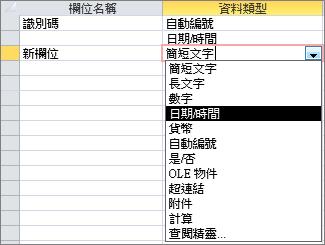 在設計檢視中新增 [日期/時間] 欄位
