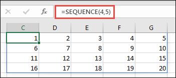 具有 4 x 5 陣列的順序函數範例