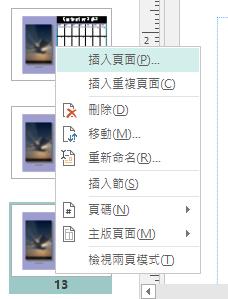 要插入頁面,請對 [頁面導覽] 窗格中的頁面按一下滑鼠右鍵。