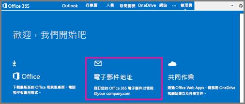 歡迎頁面,顯示電子郵件地址磚