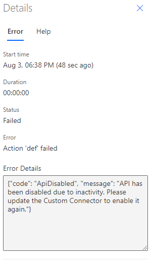 Image showing the detailed error pane for a failed flow run where custom connector was disabled
