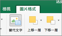 Mac 版 Excel 功能區中之圖像的 [替代文字] 按鈕