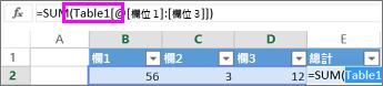 表格名稱顯示在公式中