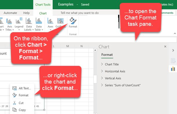 含有圖表的網頁檔案 Excel 會顯示 [圖表] 索引標籤,其中的文字氣泡指向 [格式] 按鈕、一個指向圖表的操作功能表格式命令的文字氣泡,以及一個指向 [圖表格式] 工作窗格的文字氣泡。