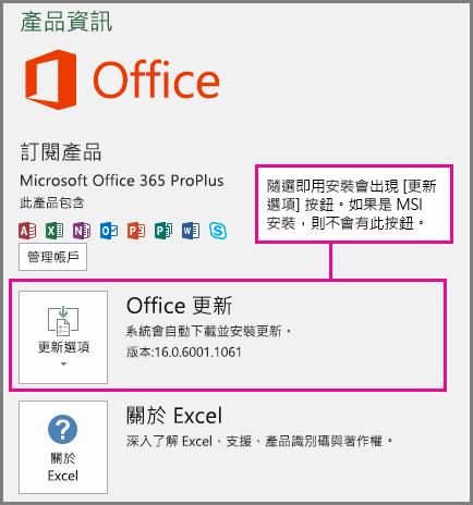 如果是隨選即用安裝,[帳戶] 頁面上會出現 [更新選項] 按鈕。如果是 MSI 安裝,則不會有此按鈕。