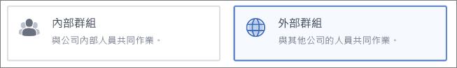 螢幕擷取畫面:顯示您可以選擇建立「內部」或「外部」群組