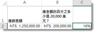 $125,000 位於儲存格 a2;$20,000 位於儲存格 b2;16% 位於儲存格 c2