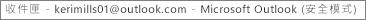 視窗頂端的標籤會告訴您擁有收件匣的人員名稱,並指出 Outlook 正處於安全模式運作中