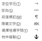 這些是電子郵件訊息中可用的格式化字元。