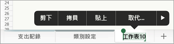 已選取工作表索引標籤,顯示重新命名選項