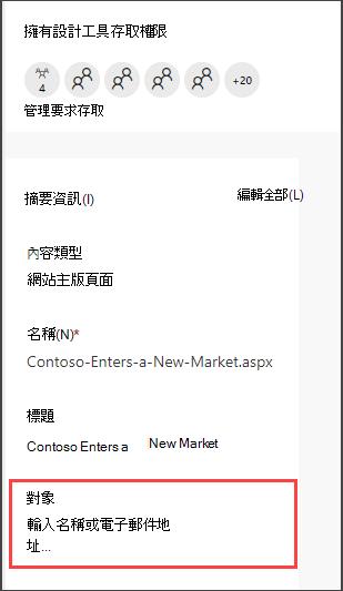 [頁面詳細資料] 窗格與 [輸入物件] 選項