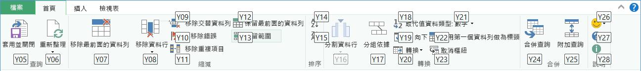 [查詢編輯器] 功能區 KeyTip