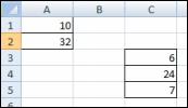 儲存格 A1:A2 與 C3:C5 不相交