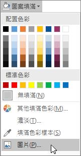 螢幕擷取畫面顯示 Publisher [格式] 索引標籤上 [圖案填滿] 的 [圖片填滿] 選項。