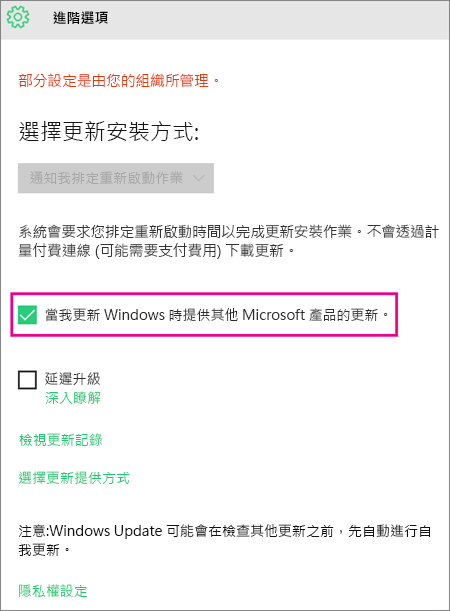 Windows Update 進階選項