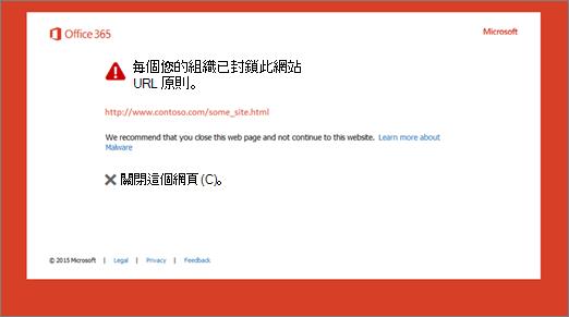 封鎖的 URL 相關的原始警告頁面