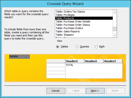 在交叉資料表查詢精靈中,選取一個資料表或查詢。