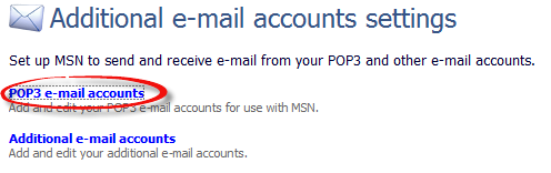 Additional email accounts settings, POP3 email accounts option