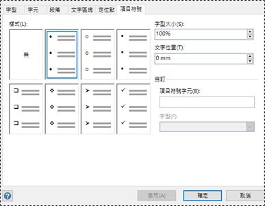 Visio 中有不同項目符號樣式的 [項目符號] 索引標籤。