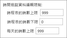 時間追蹤資料輸入限制