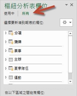 按一下 [樞紐分析表欄位] 中的 [所有],以顯示所有可用的表格