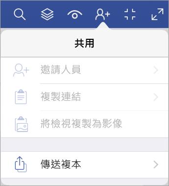 iPad 版 Visio Viewer 的傳送檔案複本