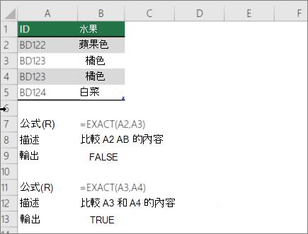 若要比較到另一個儲存格使用 EXACT 函數的範例