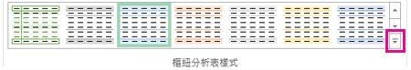 [樞紐分析表樣式] 庫中的 [其他] 按鈕