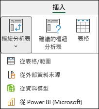 插入樞紐分析表下拉式功能表,顯示「來自 Power BI」選項。