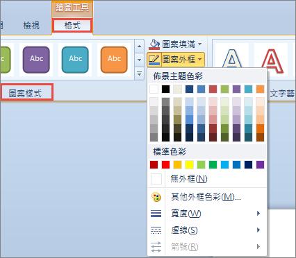 PowerPoint 2010 的圖案框線選項
