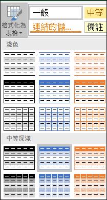 Excel [格式化為表格] 的 [樣式庫] 選擇