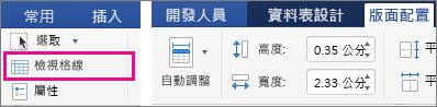 畫面上醒目提示 [插入] 索引標籤上的 [檢視格線]。