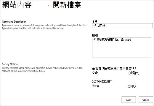 新問卷對話方塊中填入內容的 [文字] 方塊。
