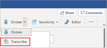 在 Word 中顯示 Transcribe 按鈕