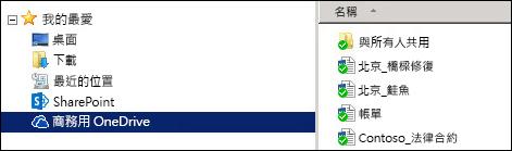已同步處理的 SharePoint 商務用 OneDrive 資料夾