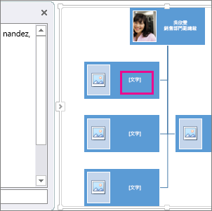 組織圖上之方塊被醒目提示的 SmartArt 圖片組織圖,顯示可輸入文字的位置