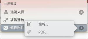 Mac 版 PPT 共用電子郵件選項