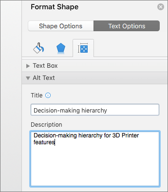 描述所選 SmartArt 圖形的 [設定圖案格式] 窗格 [替代文字] 區域之螢幕擷取畫面