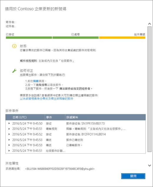 郵件追蹤詳細資料頁面中顯示郵件追蹤詳細資料範例外觀的螢幕擷取畫面。