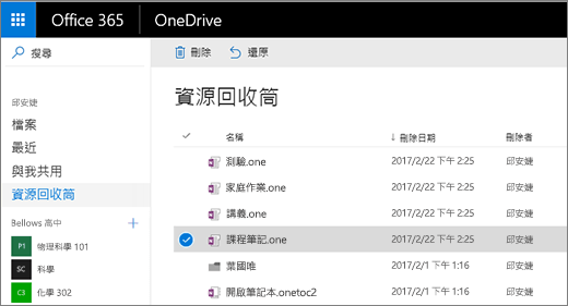 OneDrive 資源回收筒以及筆記本頁面清單。[刪除] 和 [還原] 圖示。