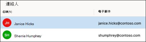 Outlook 中的 [連絡人] 清單。