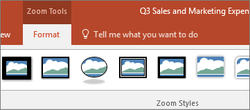 顯示 PowerPoint 功能區上的 [縮放工具格式] 索引標籤。