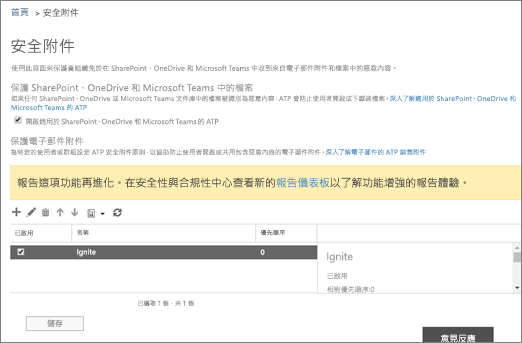 開啟 [進階的威脅保護 sharepoint 線上的 OneDrive for Business 和 Microsoft 小組