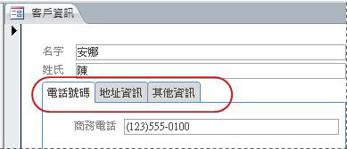 包含索引標籤控制項的表單