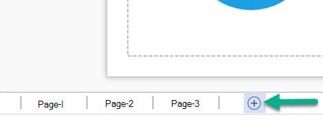 網頁版 Visio 的狀態列上的 [插入新頁面] 按鈕。