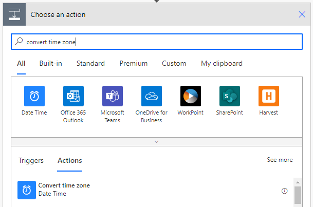 Convert time zone action search in Power Automate