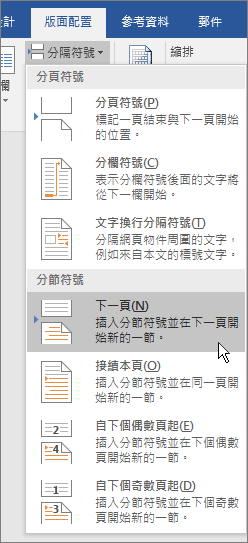 分隔設定選項會顯示在 [版面配置] 索引標籤。