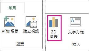 Power Map [常用] 索引標籤上的 [2D 圖表] 按鈕