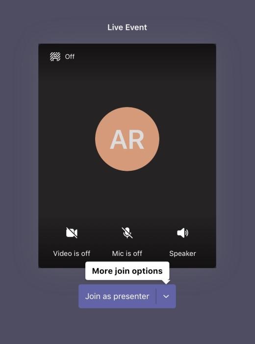 即時活動預先加入畫面,具有以簡報者身分加入的按鈕