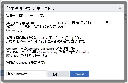 螢幕擷取畫面顯示確認您要移轉 Yammer 網路的對話方塊